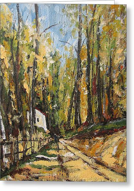 Greeting Card featuring the painting In The Forest by Debora Cardaci