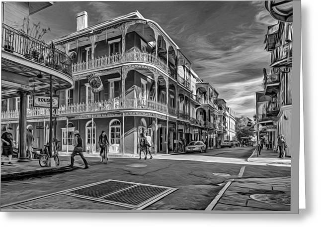 In The French Quarter - 2 Paint Bw Greeting Card by Steve Harrington