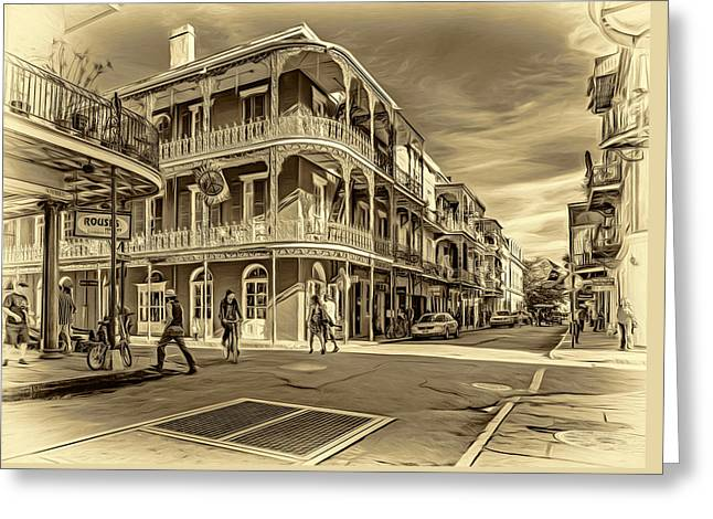 In The French Quarter - 2 Sepia Greeting Card by Steve Harrington