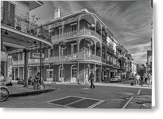 In The French Quarter - 3 Bw Greeting Card by Steve Harrington