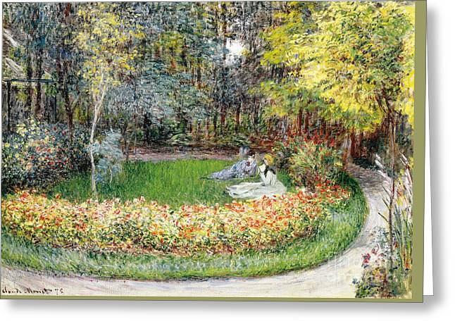 In The Garden, 1875 Greeting Card by Claude Monet