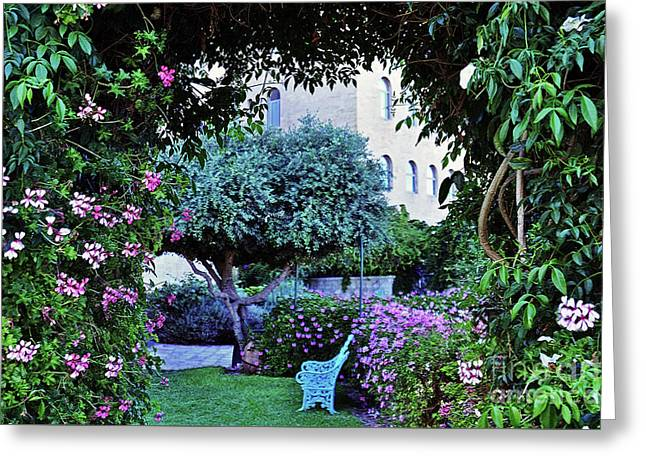 In The Garden At Mount Zion Hotel  Greeting Card