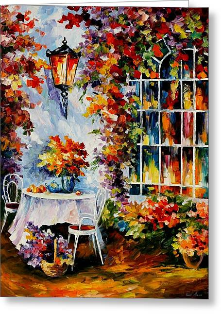In The Garden Greeting Card by Leonid Afremov