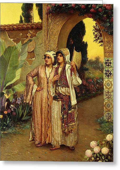 In The Garden Of The Harem Greeting Card by Rudolphe Ernst