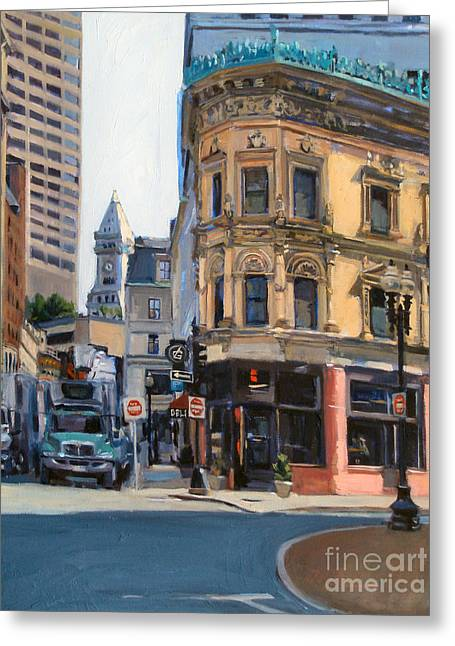 Deli Paintings Greeting Cards - In the Land of Giants Greeting Card by Deb Putnam
