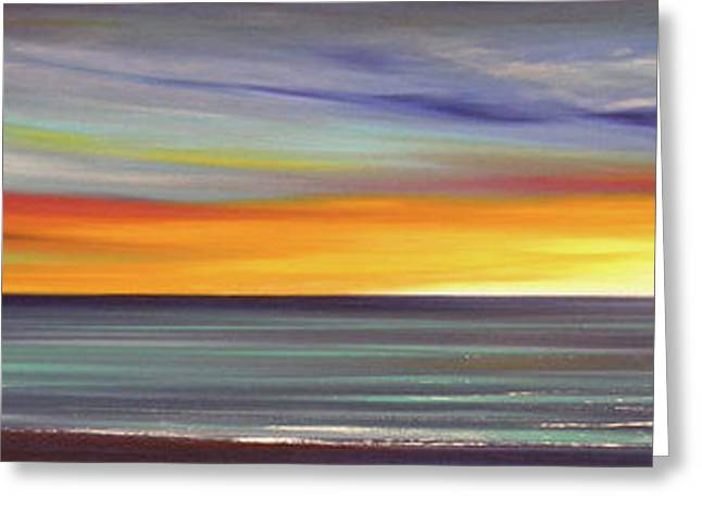In The Moment Panoramic Sunset Greeting Card by Gina De Gorna