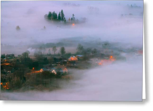 In The Morning Fog Greeting Card by Piotr Krol (bax)