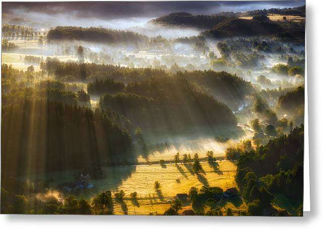 In The Morning Mists Greeting Card by Piotr Krol (bax)