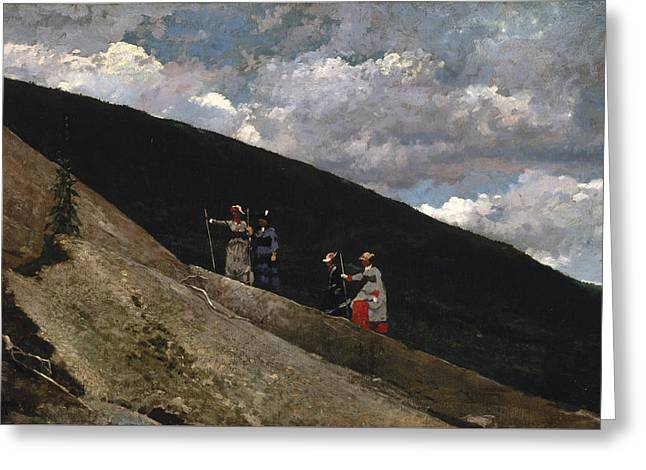 In The Mountains Greeting Card by Winslow Homer