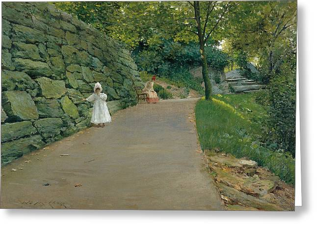 In The Park Greeting Card by William Merritt Chase