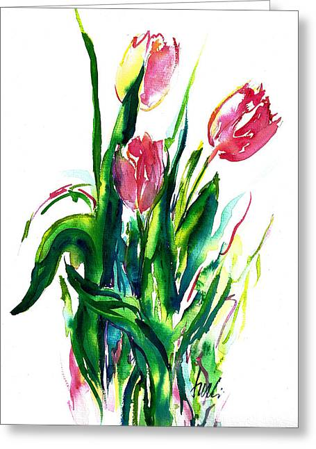 In The Pink Tulips Greeting Card