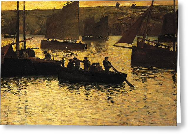 In The Port Greeting Card by Charles Cottet