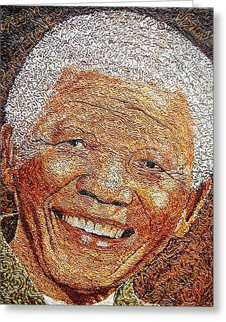 Nelson Mandela - In The Pyramid Of Our Minds Greeting Card by Bankole Abe