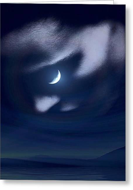 In The Quiet Of Your Mind Blue Greeting Card by ISAW Gallery