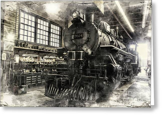 Greeting Card featuring the photograph In The Roundhouse by Brad Allen Fine Art