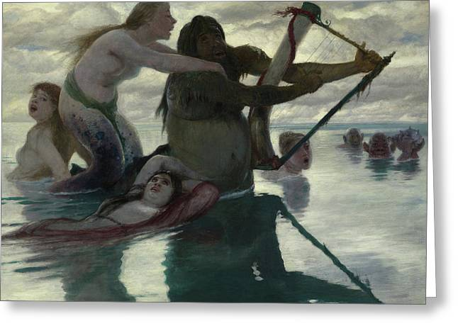 In The Sea Greeting Card by Arnold Bocklin