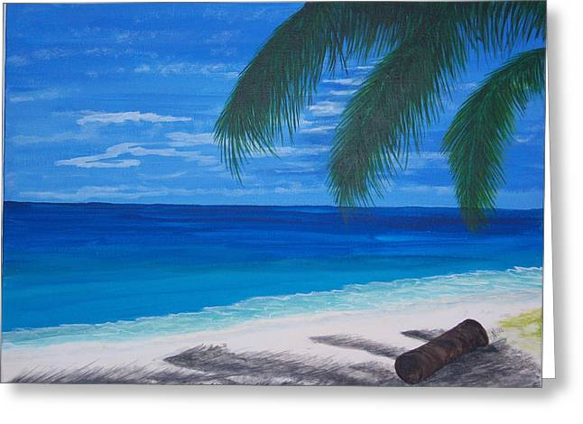 In The Shade Of A Palm Greeting Card by Nancy Nuce