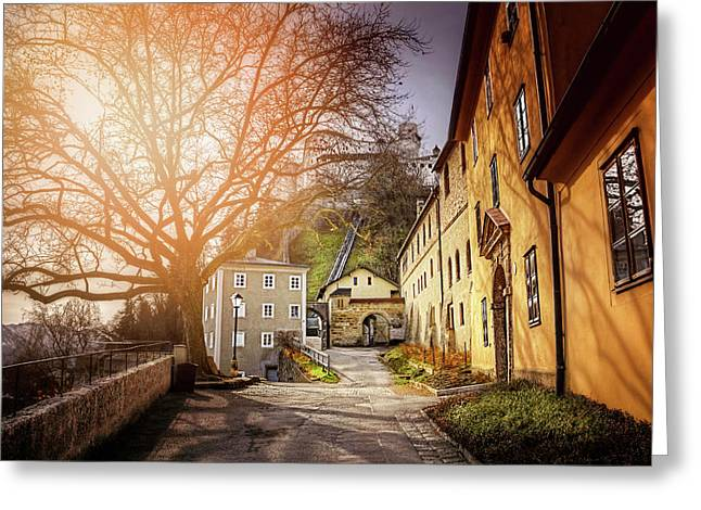 Greeting Card featuring the photograph In The Shadow Of Salzburg Castle  by Carol Japp