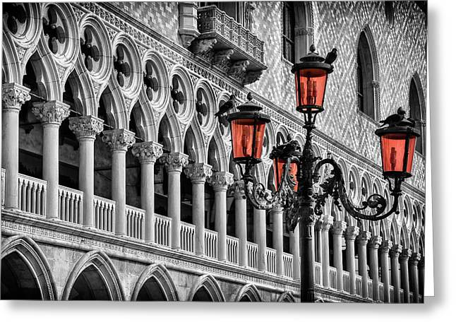 In The Shadow Of The Doges Palace Venice Greeting Card by Carol Japp