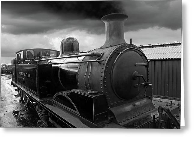 In The Siding - Metropolitan Steam Train Greeting Card by Gill Billington