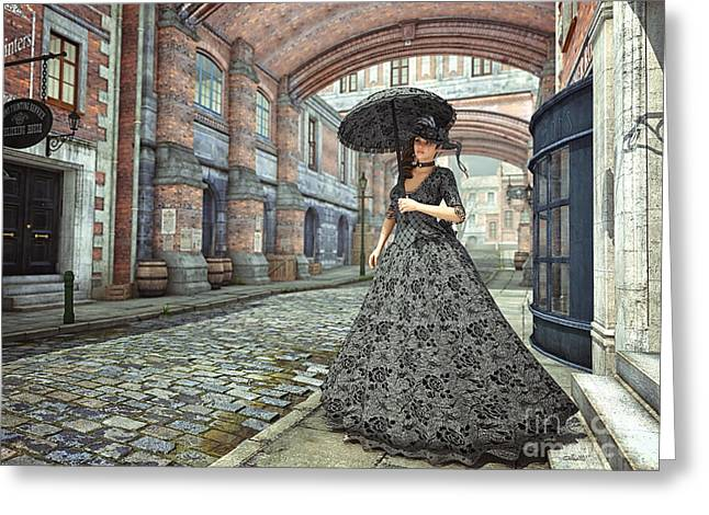 In The Streets Of Old London Greeting Card by Jutta Maria Pusl