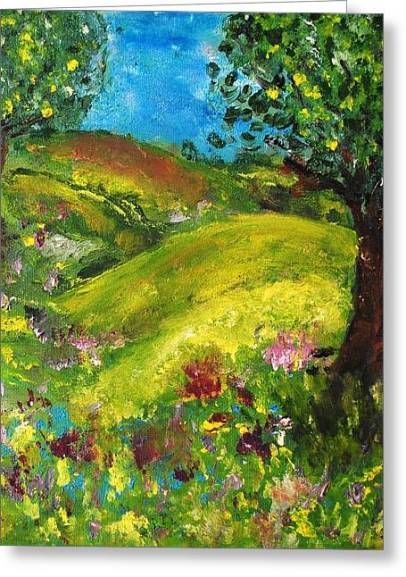 Greeting Card featuring the painting In The Summer by Evelina Popilian