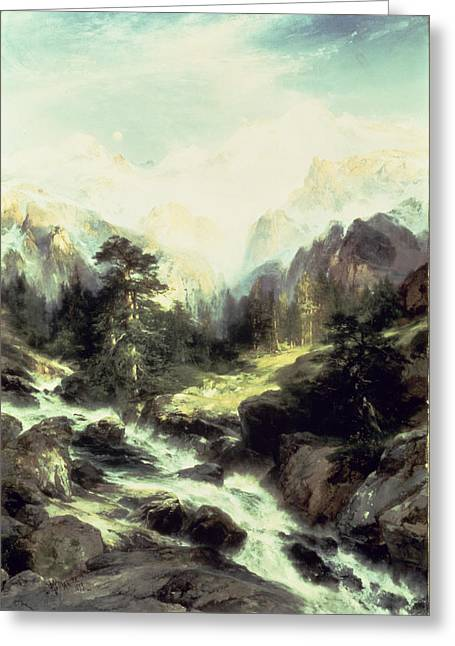 In The Teton Range Greeting Card by Thomas Moran