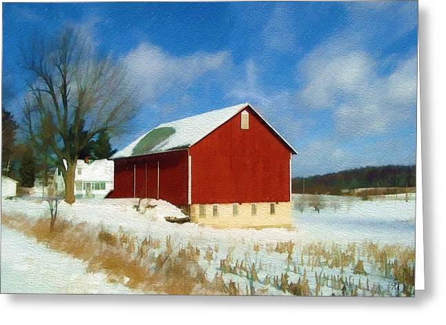 Indiana Winters Digital Art Greeting Cards - In the Throes of Winter Greeting Card by Sandy MacGowan