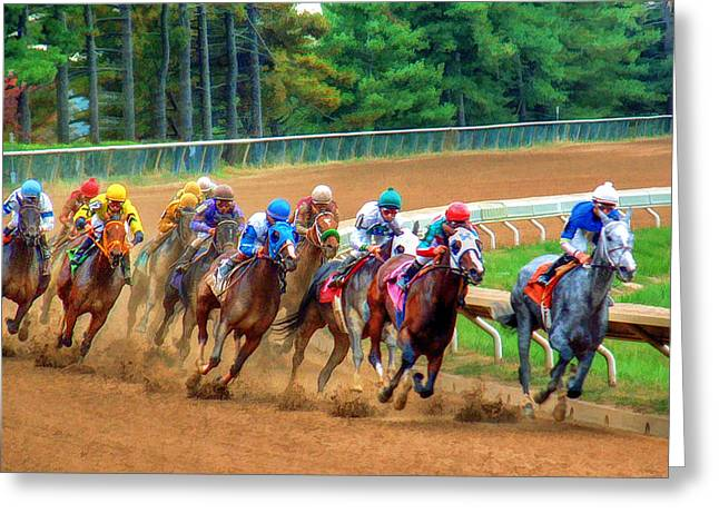 In The Turn At Keeneland Greeting Card by Sam Davis Johnson