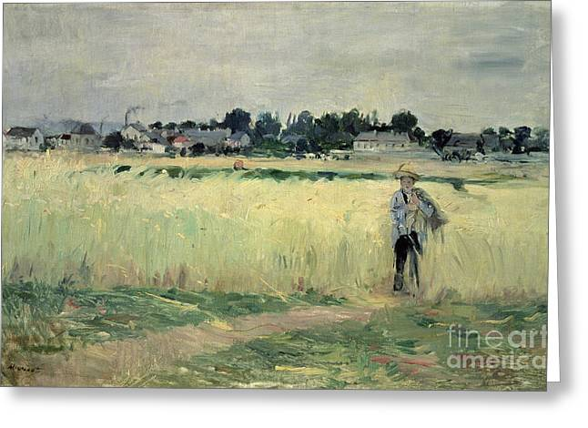 Berthe (1841-95) Greeting Cards - In the Wheatfield at Gennevilliers Greeting Card by Berthe Morisot