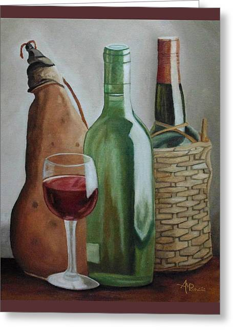 In The Winery Greeting Card by Angeles M Pomata