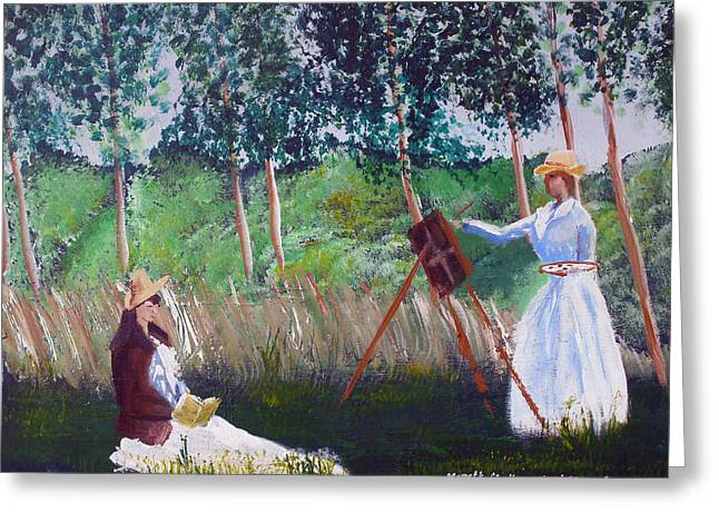 In The Woods At Giverny Greeting Card by Luis F Rodriguez