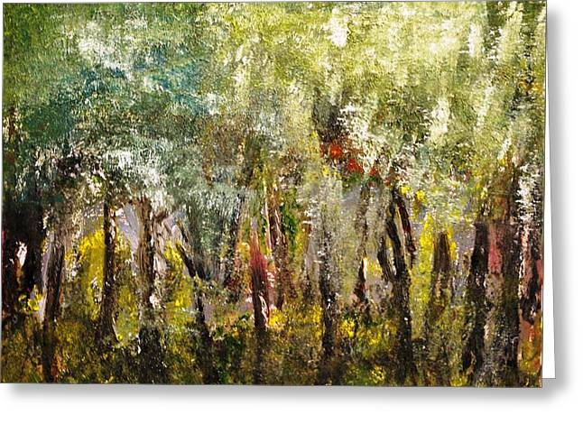 Greeting Card featuring the painting In The Woods by Evelina Popilian