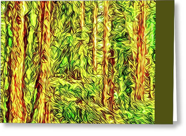 Greeting Card featuring the digital art In The Woods - Forest Trees Vashon Island Washington by Joel Bruce Wallach