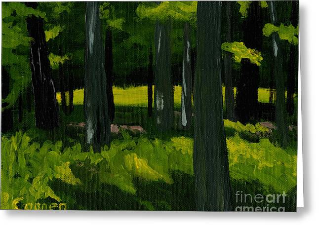 Greeting Card featuring the painting In The Woods by Robert Coppen