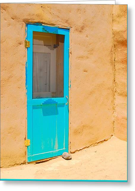 In Through The Blue Door Greeting Card