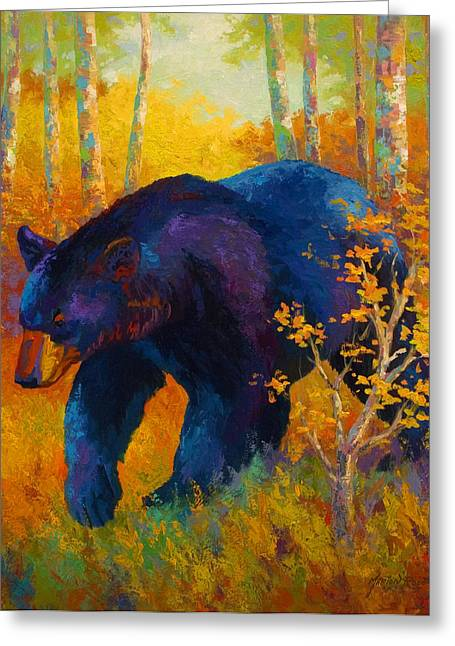 Wild Animal Greeting Cards - In To Spring - Black Bear Greeting Card by Marion Rose