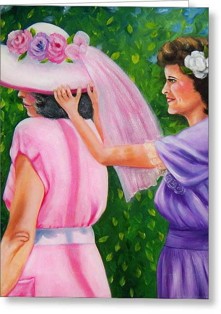 Greeting Card featuring the painting In Your Easter Bonnet by Joni McPherson