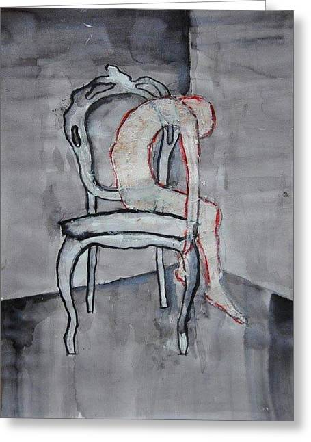Thin Skin On Chair Greeting Card