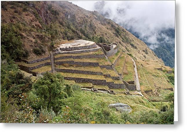 Inca Ruins And Terraces Greeting Card