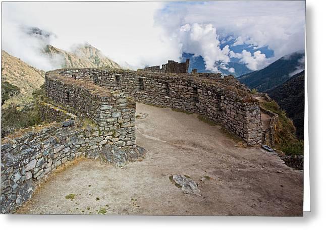 Inca Ruins In Clouds Greeting Card