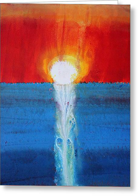 Incandescence Original Painting Greeting Card by Sol Luckman