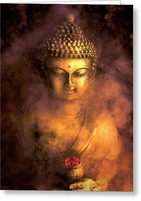 Greeting Card featuring the photograph Incense Buddha by Daniel Hagerman