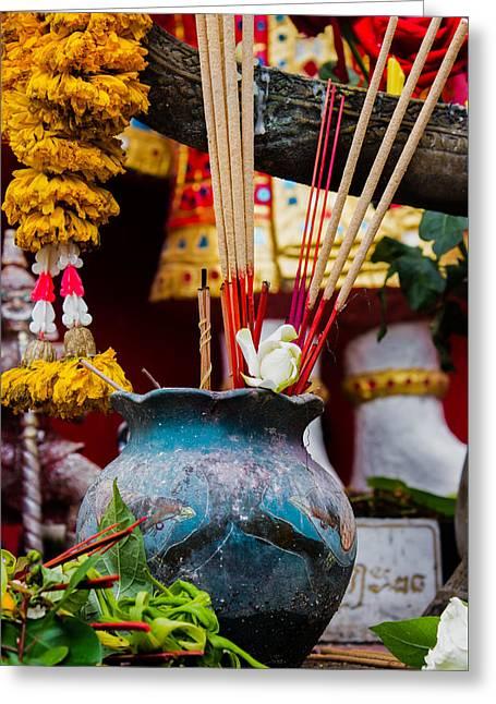 Incense Prayers For Good Deeds Greeting Card by Nomadic Ninja Negativs