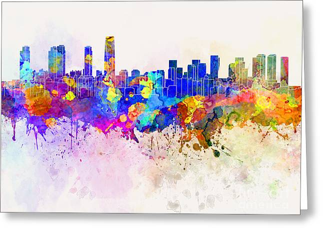 Incheon Skyline In Watercolor Background Greeting Card