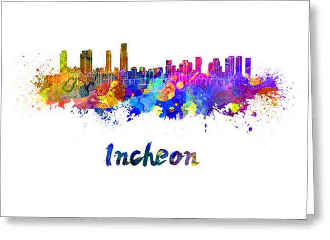Incheon Skyline In Watercolor Greeting Card by Pablo Romero