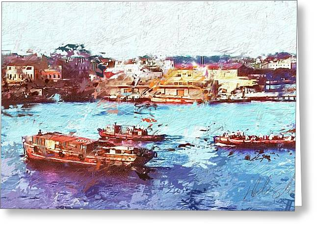 Greeting Card featuring the digital art Inchon Harbor by Dale Stillman
