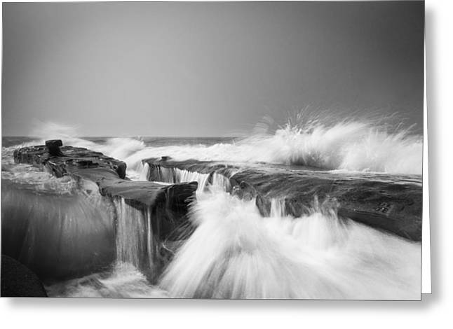 Incoming  La Jolla Rock Formations Black And White Greeting Card by Scott Campbell