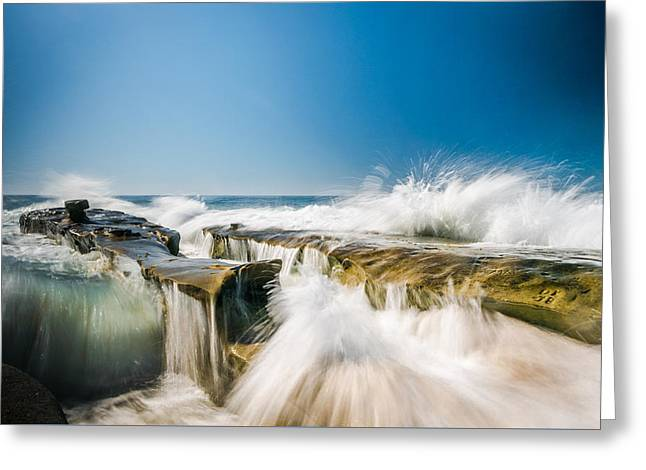 Incoming  La Jolla Rock Formations Greeting Card by Scott Campbell