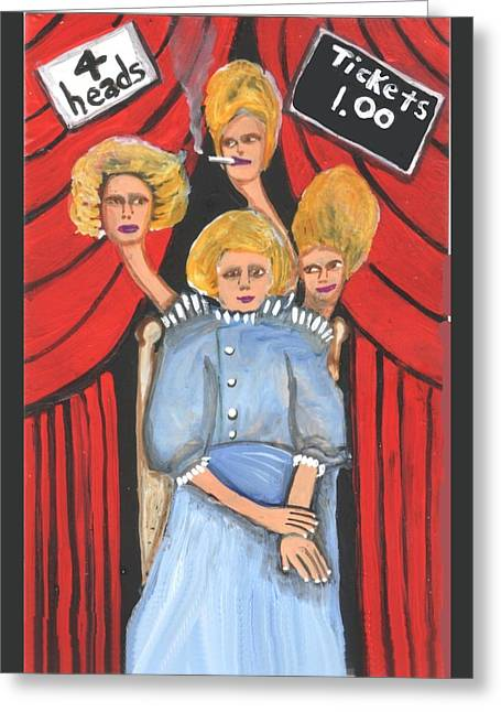 Incredible 4 Headed Woman Greeting Card